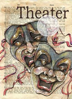 PRINT:  Theater Mixed Media Drawing on Antique Dictionary