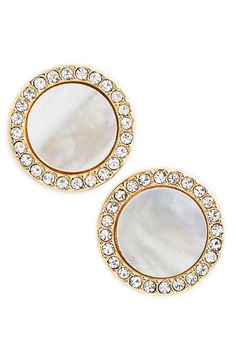 Softly iridescent pieces of mother-of-pearl stand out when surrounded by crystals for a sparkly yet sophisticated earring. These Kate Spade studs would look dazzling when paired with a fabulous blouse and denim for an easy, on-the-go look.