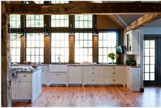 Love an open kitchen with no upper cabinets