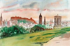 Edinburgh Calton Hill sunset watercolor painting - Scottish artist David Tyrrell  | eBay