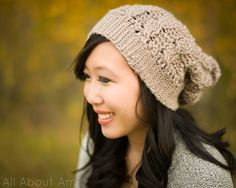 Cabled Slouchy Beanie  crotchet from bottom-up