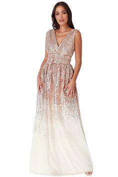 Béžové společenské šaty s flitry City Goddess Viera 5862e35346