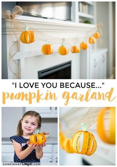 Not all Halloween and Fall decorations have to be scary! This fall garland is a cute decoration that the whole family can help create!#FallDecorations #FallGarland #Garland #Pumpkin
