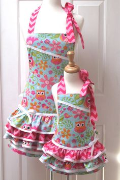 Reversible Mommy and Me Ruffled Apron Set by GrammaMayHandicrafts, $55.00
