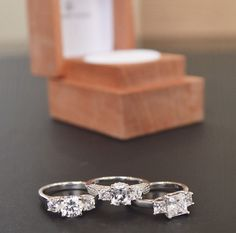Gorgeous three stone engagement rings.