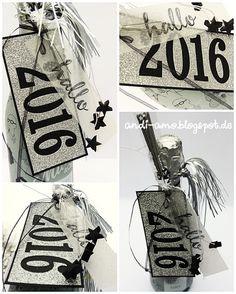 andi-amo Flaschen-Deko zu Silvester auf www.andi-amo.blogspot.de #Stampin Up #Framelits Große Zahlen #Hallo #Silvester #Glitzerpapier