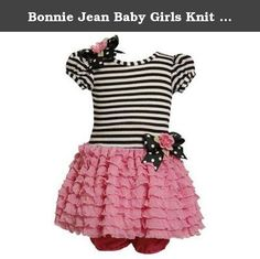 Bonnie Jean Baby Girls Knit Bodice To Drop Waist Multi Ruffle Skirt, Pink, 6-9 Months. Up for your consideration is this delightful dress from Bonnie Baby (line from Bonnie Jean). This short puff sleeve dress features black / white strip knit top, black w/ white polka dot grosgrain bow (adorned with fabric flower) at right side shoulder & at side drop waistline, pink ruffled tiered mesh skirt, and extra tulle netting underneath for a little more fullness. Comes with a pink panty. A…