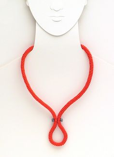 coral loop  matinee necklace  coral red thread by FMLdesign, €56.00