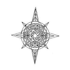 Disegno tatuaggio stella polare o rosa dei venti