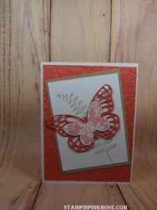 Stampin' Up! CAS birthday card made with Butterfly Basics stamp set and designed by Demo Pamela Sadler. See more cards at stampinkrose.com #stampinkpinkrose