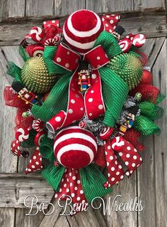 Christmas Wreath, Christmas Decor, Christmas Door, Winter Wreath, Holiday Wreath Dazzle your door with the FUN traditional Christmas colors Red & Green. Made on a flocked wreath and filled with beautiful ribbons that sparkle and pop in polka~dots. XL ornaments give it the extra WOW
