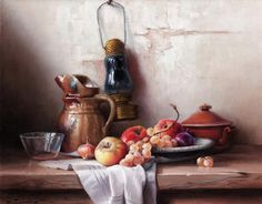 Robert Chailloux. Still Life with an Oil Lamp, a Jug and Fruit