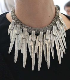 Lori Metal Feather Necklace - Runway/Azzaro Fall 2012 - Silver and enamel with crystal details. Made in France.  $1,278 - orig. 2130 | Paire.us