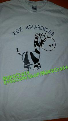 EDS Awareness Cartoon Zebra  T-Shirt by MakaCraft on Etsy