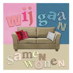 Samenwonen kaart roze en blauw behang, wenskaart van @Greetz NL