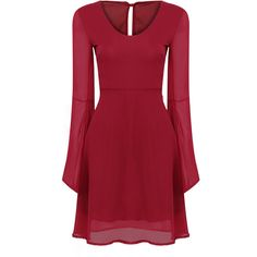 Yoins Burgundy Bell Sleeve Reveal Back Dress ($16) ❤ liked on Polyvore featuring dresses, burgundy, red v neck dress, bell sleeve dress, v-neck dresses, side zipper dress and red dress