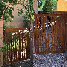 Custom garden gates with aspen tree pattern and rust patina