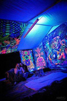 Black Light Room Hippy Bedroom Lighting Decor