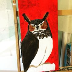 This is what I love about #painting. A year later and I can fix this canvas to reflect where I originally wanted to go. #art #birds #owls