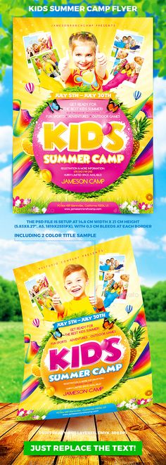 50 Best Kids Summer Camp Flyer Print Templates 2018 Pinterest