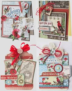 Time to Flourish January Monthly Printable Project Sheet. Two cards, two tags. Step by step tutorial by Happy New Year, Winter Wishes, Let's Celebrate - Wendy Schultz ~ Graphic 45 Projects. Scrapbook Cover, Scrapbook Cards, Scrapbooking Ideas, Scrapbook Layouts, Graphic 45, Christmas Tag, Christmas Crafts, Handmade Christmas, Vintage Christmas