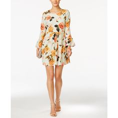 CeCe by Cynthia Steffe Floral-Print Bell-Sleeve Dress ($138) ❤ liked on Polyvore featuring dresses, mint, flared sleeve dress, mint green sheath dress, floral print sheath dress, floral print dress and white dress