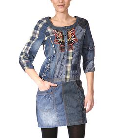 Classic Western-inspired elements combine with chic tones through plaid accents and a detailed embroidered placket. This patchwork-inspired tunic is the perfect pick for any woman.100% cottonHand wash; dry flatImported