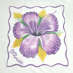 Vintage Florida Handkerchief with Hibiscus by LinensandThings, $18.00