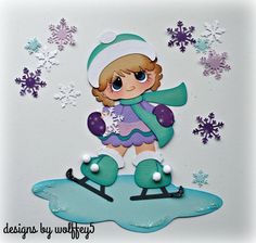 ELITE4U GIRL SKATING paper piecing premade scrapbook album page die cut WOLFFEY5 #wolffey5