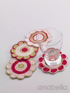 Anabelia craft design: Spring flowers crochet coasters pattern