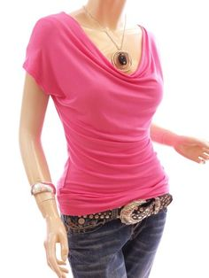 Patty Women Simple Cowl Neck Cap Short Sleeve Casual Blouse Top. - http://cheune.com/a/79747355403378609