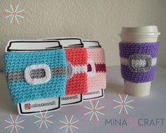 Santa Cluas manga para termo patrón gratis #coffee #crochet #christmas