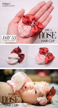 Bow & ROSE hair clip