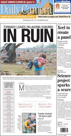 Boulder Daily Camera Front Page: Sept. 22, 2013 Our A1 the week ...