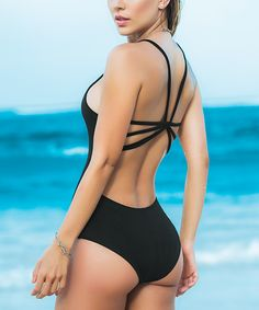 1a683cc8f4 Black Strappy One-Piece - so CUTE Strappy Bathing Suit