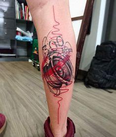 Arte Trash Polka, Skull Sleeve Tattoos, Trash Polka Tattoo, Music Tattoos, Black And Grey Tattoos, Drawing Art, Tattos, Techno, Tattoo Designs