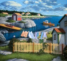 LAUNDRY ROOM PRINT  Late Afternoon Blue Rocks 11 1/4 x 12 1/2 Image by PaulHannonArt, $165.00