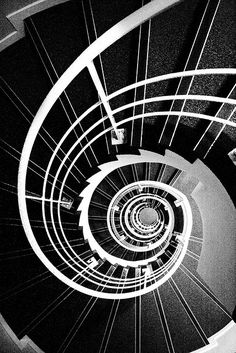 Spiral staircase - black stairs with white banister. Grand Staircase, Staircase Design, White Staircase, White Banister, Black White Photos, Black And White, Black Tie, Escalier Design, Balustrades