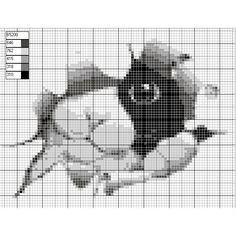black/white peekaboo cat free cross stitch pattern