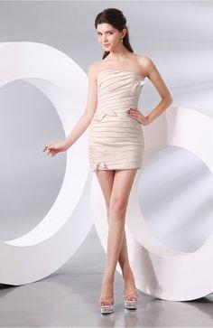 e9604e4a41c Silver Peony Prom Dress - Plain Column Strapless Chiffon Short Ruching  Cheap Homecoming Dresses