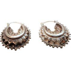 f295267f1 Vintage Unusual Textured Puffed Hoop Sterling Silver Hallmarked Pierced  Earrings. found at www.rubylane