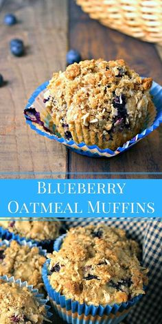Blueberry Oatmeal Muffins Blueberry Oatmeal Muffins are bursting with fresh berries and are crowned with a brown sugar streusel crumble for a bakery-style result. Muffin Recipes, Brunch Recipes, Dessert Recipes, Breakfast Recipes, Breakfast Cookies, Dessert Bread, Bread Recipes, Cake Recipes, Blueberry Oatmeal Muffins