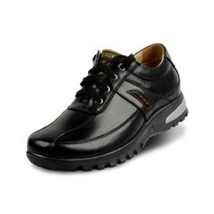 Lace up men's leather business casual shoes invisibly get taller 7cm / 2.75 inches