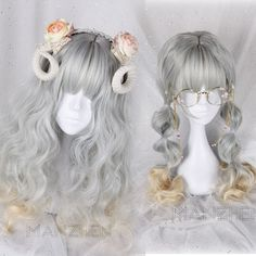 Japanese Harajuku Gothic Lolita Mori girl curly Long Gray Gradient Cosplay Wig… Pelo Lolita, Lolita Hair, Kawaii Hairstyles, Trendy Hairstyles, Wig Hairstyles, Kawaii Wigs, Anime Wigs, Hair Reference, Pixie Bob
