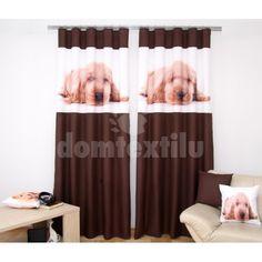 Hnedé závesy do detskej izby s kokeršpanielom Curtains, Home Decor, Insulated Curtains, Homemade Home Decor, Blinds, Draping, Decoration Home, Drapes Curtains, Sheet Curtains