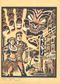 "Brad Parker Limited Edition Wood Block Art Print - ""Waikiki Mystery"""""