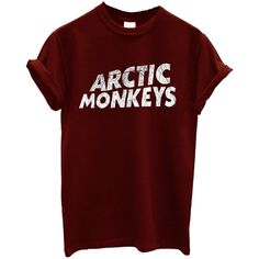 Arctic Monkeys T-shirt Rock Band New (330 PHP) ❤ liked on Polyvore featuring tops, t-shirts, shirts, tees, red tee, rock shirts, rock tees, red t shirt and monkey t shirt