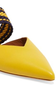 Malone Souliers - Roksanda Hannah Leather Point-toe Flats - Yellow - IT41