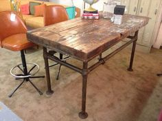 Industrial Workshop Table on Metal Base  - $1,245