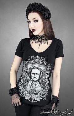 """V-NECK """"ALLAN EDGAR POE"""" czarna, gotycka koszulka serek"""